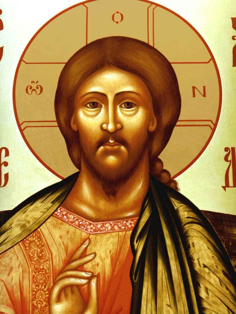 the detail of the icon The Saviour enthroned