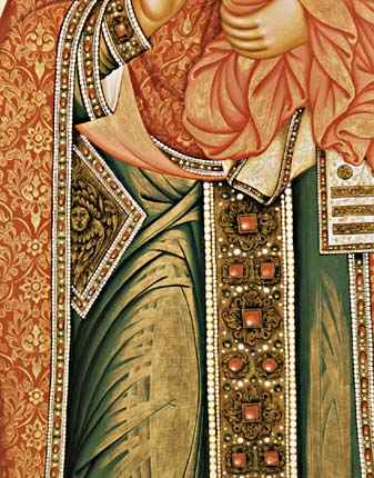 the detail of the icon St. Nicolas