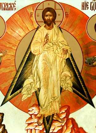 the detail of the icon The Transfiguration of Christ