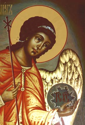 the detail of the icon The archangel Michael